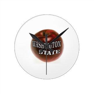 Washington state red apple round clock