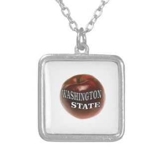 Washington state red apple silver plated necklace