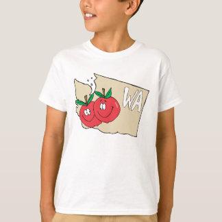 Washington State WA Cartoon Map with Apple Art T-Shirt