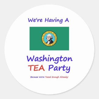 Washington TEA Party - We're Taxed Enough Already! Round Sticker