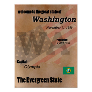 Washington The Evergreen State Classic Poster