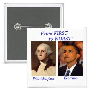 Washington to Obama Square 2 Inch Square Button