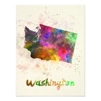 Washington U.S. state in watercolor Photo Art