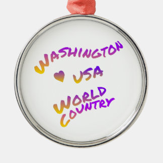 Washington usa world country, colorful text art Silver-Colored round ornament