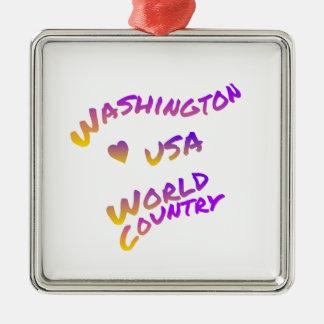 Washington usa world country, colorful text art Silver-Colored square ornament