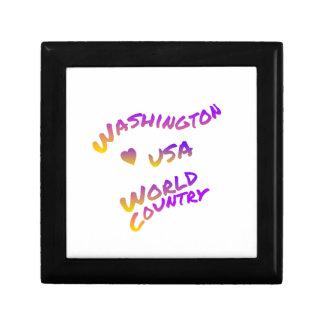 Washington usa world country, colorful text art trinket box