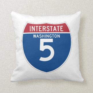 Washington WA I-5 Interstate Highway Shield - Throw Pillow