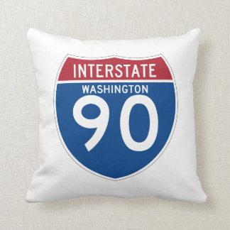 Washington WA I-90 Interstate Highway Shield - Throw Pillow