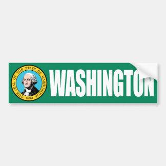 Washington with State Flag Bumper Sticker