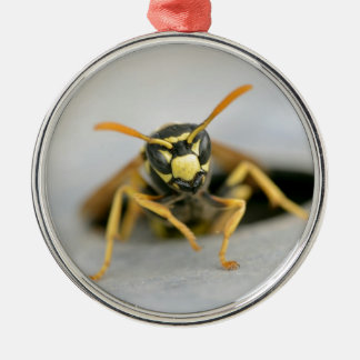 Wasp emerging from its hole metal ornament