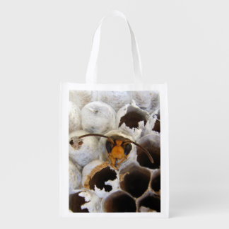 Wasp Emerging From Nest Reusable Bag