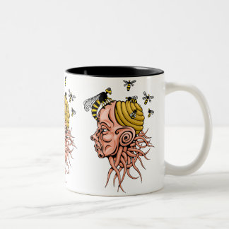 wasp nest - head shape design Two-Tone coffee mug