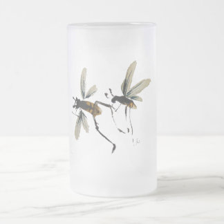 Wasps Frosted Glass Beer Mug