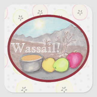 Wassail Apples Yule Solstice Square Sticker