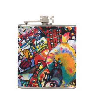 Wassily Kandinsky - Moscow Cityscape Abstract Art Hip Flask