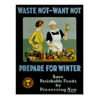 Waste Not - Want Not ~ Prepare for Winter Poster