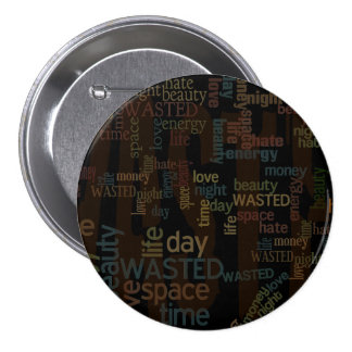 Wasted Words Collage 3 Inch Round Button