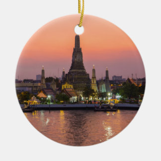 Wat Arun Temple Bangkok Thailand at sunset Round Ceramic Ornament