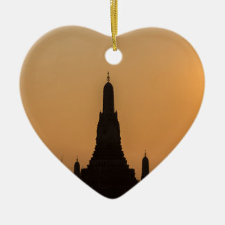 Wat Arun temple Silhouette Thailand Bangkok at sun Ceramic Heart Ornament