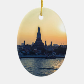 Wat Arun temple Silhouette Thailand Bangkok at sun Ceramic Oval Ornament