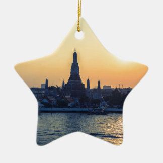 Wat Arun temple Silhouette Thailand Bangkok at sun Ceramic Star Ornament