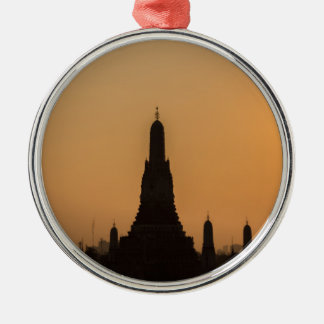 Wat Arun temple Silhouette Thailand Bangkok at sun Silver-Colored Round Ornament