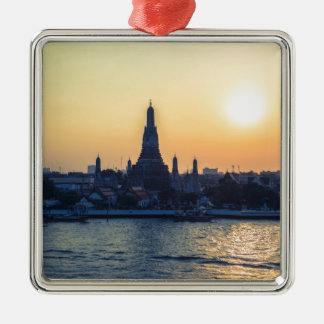 Wat Arun temple Silhouette Thailand Bangkok at sun Silver-Colored Square Ornament