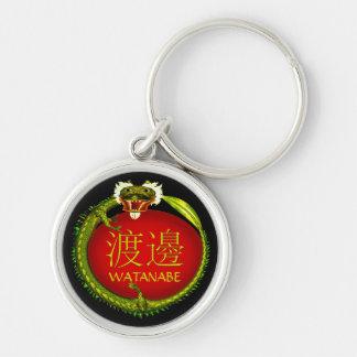 Watanabe Monogram Dragon Silver-Colored Round Keychain