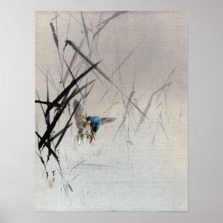 Watanabe Seitei Bird Catching Fish Among Reeds Poster