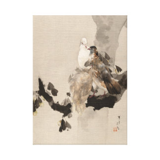 Watanabe Seitei Pigeons in a Tree Canvas Print