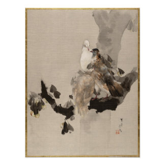 Watanabe Seitei Pigeons in a Tree Poster