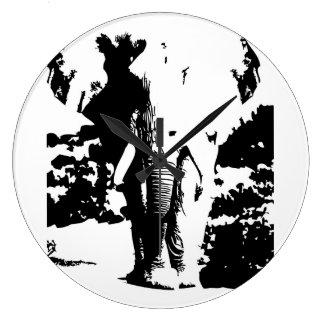 Watch black and white print elephant wallclock