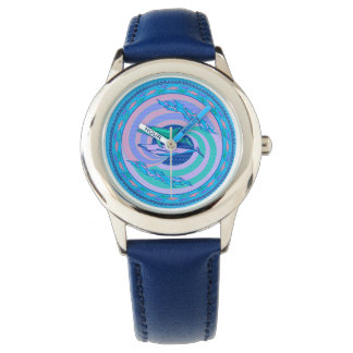 Watch circling dolphins pastel colors design waves
