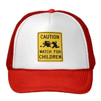Watch For Children, Traffic Warning Sign, USA Trucker Hat