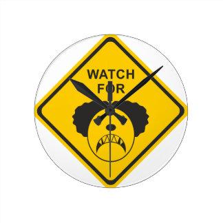 Watch For Clown Round Clock