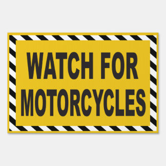 Watch for motorcycles caution sign