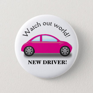 Watch Out World New Driver Pink Car 2 Inch Round Button