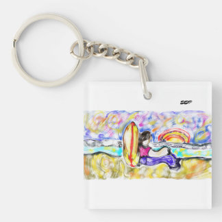 watch sunset Single-Sided square acrylic keychain