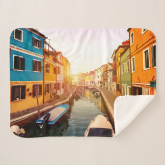 Watch the sun rise at the canals of Venice. Europe Sherpa Blanket