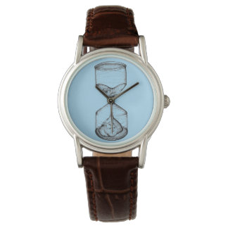 watch with artwork upright hourglass draining face