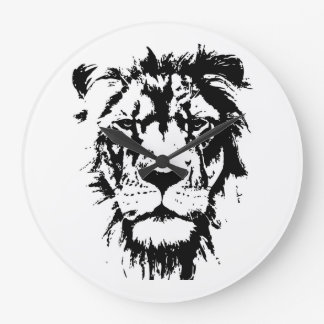 Watch with black and white print Lion Large Clock
