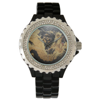 Watch with black dragon, black band, rhinestones