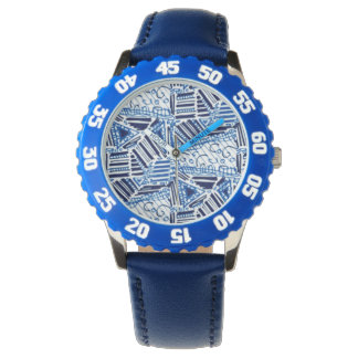 Watch with blue band and blue and white design