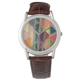 Watch with brown leather band contempt design