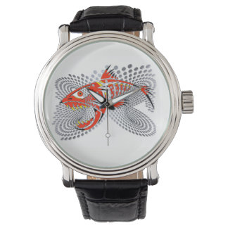 Watch with modern design of an angry fish