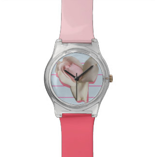 Watch with Pink Rose and Blue Background
