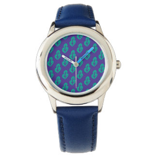 Watch with purple and green leaves and navy band