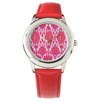 Watch with red band Ikat design
