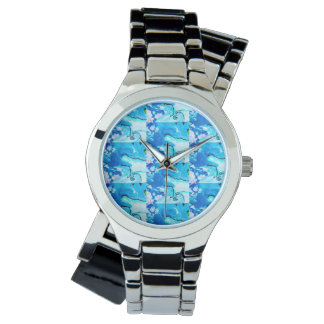 Watch with silver band and watery blue design