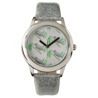 Watch with silver glitter band and bird motif